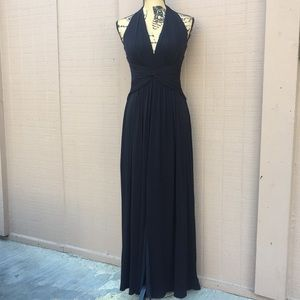 Sz 4 BCBG Maxazria BlackMaxi Dress Split Front